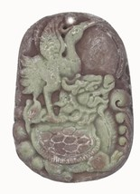 Bird Animal Hand Carved Stone Pendant Asian Design for Necklace Ornament - $14.97