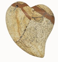 Brown Mottled Floating Heart Polished Stone Pendant for Necklace Ornament - $14.97