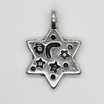 Star with Celestial Patterns Charm Pendant Tibet Design Silver Metal 14m... - $6.98