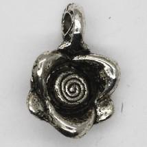 Rose Flower Bracelet Necklace Charms Tibet Design Silver Metal 10mm Pack... - $5.98
