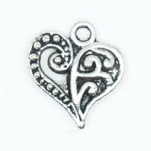 Beautiful Heavy Filigree Pendant Charm Tibet Design Silver Metal 12mm Pa... - $4.98