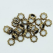 Floral Ring Washer Spacer Bead 10mm Metalized Large Hole Antiqued Gold  ... - $6.95