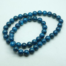 8mm Turquoise Blue Fossil Stone Gem Beads - $12.00