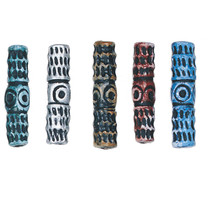 """TOTEM TUBE 1 3/4"""" (42mm) CLAY BEADS Handmade PAINTED pink blue brown sil... - $5.98"""