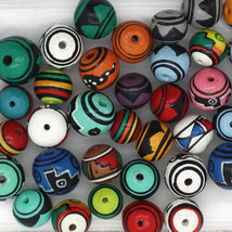 Peruvian Bead Mix Hand Painted Colorful Clay 20prs (40 beads) 8-9mm Geometrics - $15.00