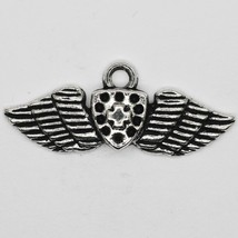 Wings and Shield Charm Pendant Tibet Design Silver Metal 10x30mm Pack of 5 - $5.98