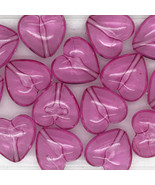 "Rose Pink See-Thru Jelly Puff Heart Beads 1/2"" (12mm) pk/15 - $6.47"