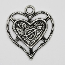 Hear with Cupid Arrow Open Charm Pendant Tibet Design Silver Metal 26mm ... - $7.98