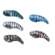 """SHRIMP 35mm (1.25"""") CLAY BEAD Handmade PAINTED pink blue brown silver teal - $5.98"""