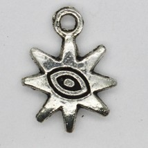 8 Point Star with Spirit Eye Charms Tibet Design Silver Metal 12mm Pack ... - $7.98