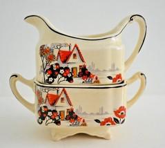 J&G Meakin England SOL Square Art Deco Sugar & Creamer Footed Set - Unusual - $32.90