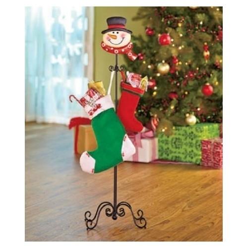 Snowman Stocking Hanger 6 Hooks Free Standing No Mantel Umbrella Stand Hat Stand
