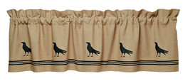 country rustic primitive farmhouse tan & black Olde Crow bird VALANCE cu... - $31.95