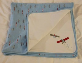 Gymboree 2007 Fly With Me Airplane Plane Baby Blanket Red Blue White Sec... - $33.65