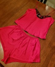 Victoria's Secret Red 100% SILK Size M Pajama Set Sleep Shorts & Cami To... - $39.99
