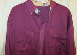 Catalina Mens Button Down Casual Shirt long sleeve purple Large tall LT ... - $14.84