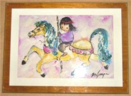 "TED DEGRAZIA ""CHILD RIDING CAROUSEL"" ART TILE T... - $65.24"