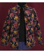 Vintage Black Velvet Quilted Rose Jacket with Gold Threads- Large Size - $39.99