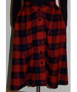 Vintage Japanese Red, Black, Navy, Green Plaid Wool Skirt, Waist 25 inches - $29.99