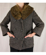Vintage Black and Brown Wool Double Breasted Jacket with Wide Fur Collar - $139.99
