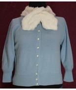 Vintage Bermuda Baby Blue Lambswool Sweater with White Rabbit Fur Collar - $35.99