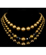 Vintage Brown Large Faux Pearl Three Strand Necklace with Iridescent Beads - $19.99