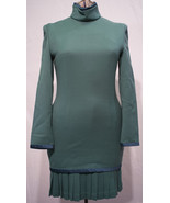 Vintage Asian Sage Green Imported Wool Blend Dress with Pleated Skirting - $59.99