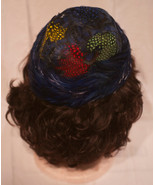 Vintage 1960s Multicolored Peacock Feather Toque or Pillbox Hat - $29.99