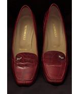 Vintage Bruno Magli Designer Red Italian Leather Crocodile Pump Shoes, S... - $84.99