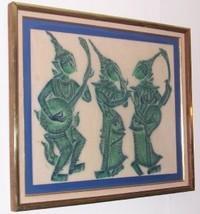 THAILAND ASIA FOLK ART BUDDHA DEITY SILK SIAM P... - $262.75