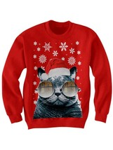 Santa Cat Christmas Sweater Cat With Glasses Sweater Christmas Gifts #Kittens - $29.70+