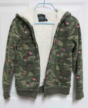 L 10-12 F Glory Girls Camouflage w/Pink Zip Faux Fur Fleece Lined Jacket... - $12.50