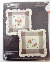 Charmin Counted Cross-Stitch Summer Flowers Pillow Kit NEW 00-94 Janlynn... - $28.37