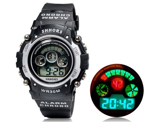 Primary image for SHORS SH-353 Unisex Round LED Digital Display Waterproof Watch (Silver)