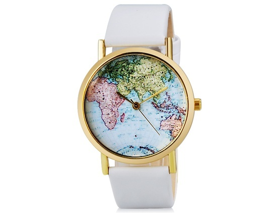 Primary image for Women's Map Print Analog Watch with Faux Leather Strap (White)