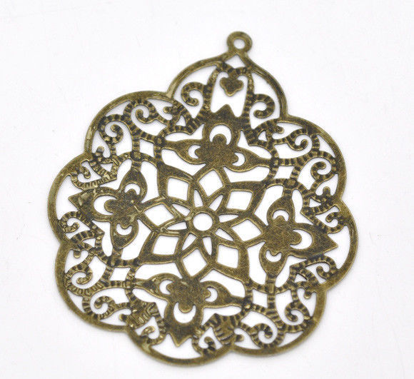 Primary image for 10 Bronze Tone Filigree Wrap Connector Jewelry Craft Scrap booking Stampings