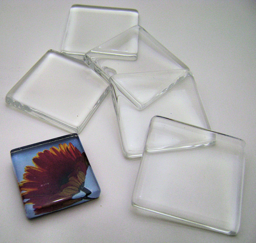 Primary image for Set 10 Small Ultra White 1 inch Clear Glass Tiles for Jewelry or Magnets