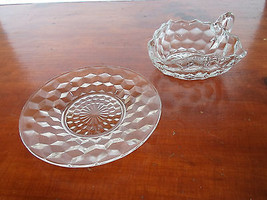 Vintage Fostoria American Glass Triangle Nappy Dish Bowl with Handle and... - $11.29