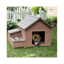 Large Framed Dog House Outdoor Shelter Storage Food Tray Supplies Organi... - $330.04