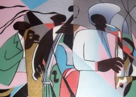 THE JAZZ BAND AFRO AMERICAN ART PAINTING BY WOODVILLE - $190.68