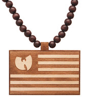 Good Wood Wu Tang Clan 36 Chambers Wu Logo American Flag Pendant Necklace NEW