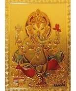 Ganesh Gold Foil Magnet Hindu Elephant God Deity Collectible Ganesha Spi... - $6.99