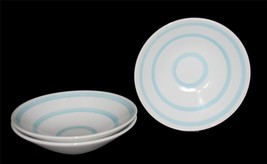 3 White & Seafoam Blue Turquoise Swirls Crate & Barrel Flare Soup Cereal Bowls - $24.99
