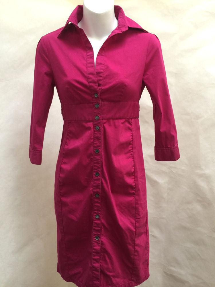 Express 0 Shirt Dress Magenta Sheath 3/4 Sleeve Mini Cotton Stretch