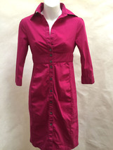 Express 0 Shirt Dress Magenta Sheath 3/4 Sleeve Mini Cotton Stretch - $24.48