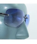 Rhinestone Bling Trim Color Blue Lens Sunglasses Shades Frameless - $21.00