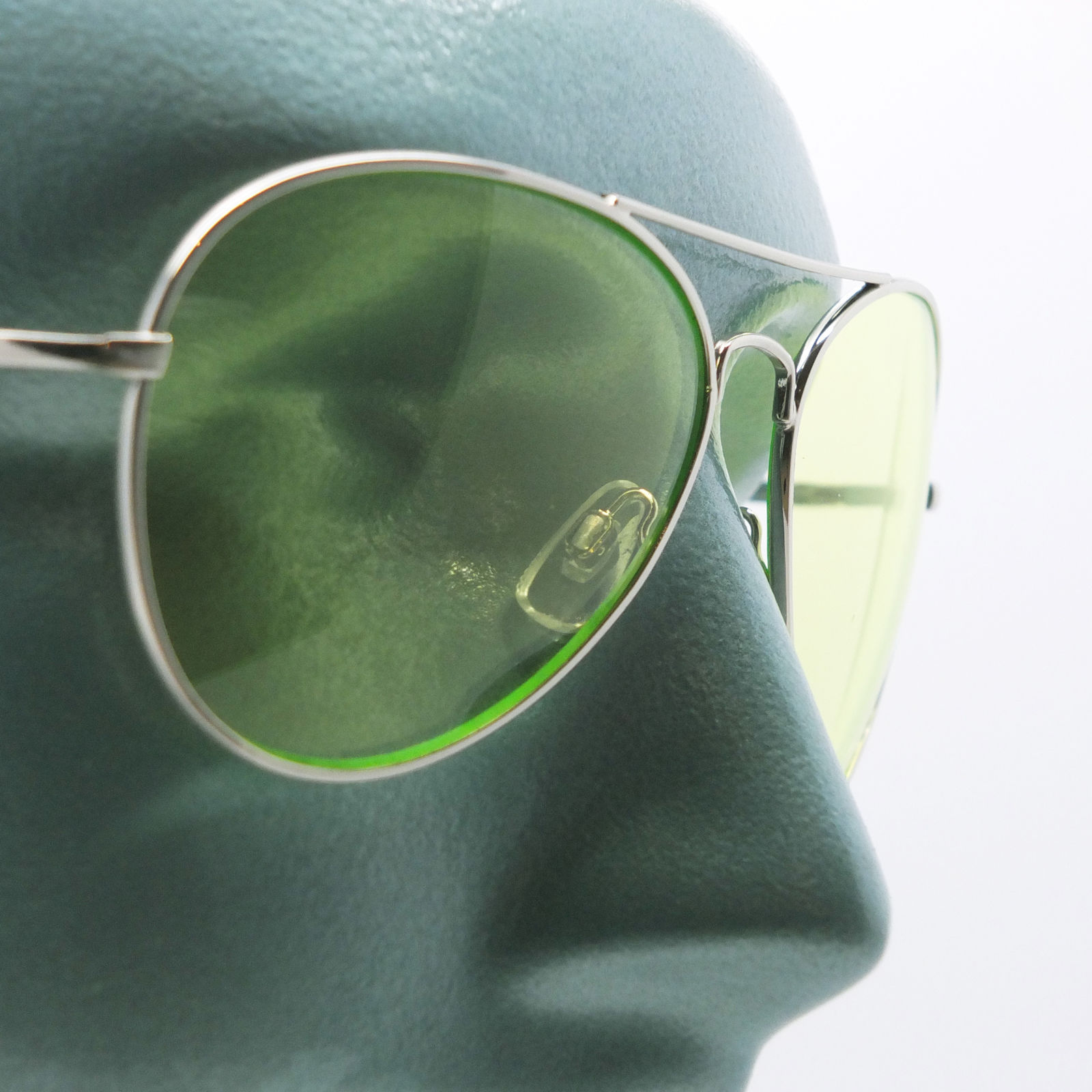 Primary image for Uber Rock Cool Colored Lime Green Lens Aviator Sunglasses Tint Shades