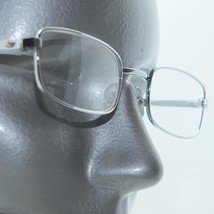 Reading Glasses Angled Rectangle Old School Tech Silver Metal Frame +1.2... - $18.00