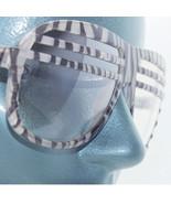 Zebra Stripe Frame Half Shutter Clear Lens Rockin' Fashion Eyewear Glasses - $34.00