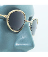 Petite Oval Beaded Frame Sunglasses Sun Shades Gold on Gold Metal - $17.00
